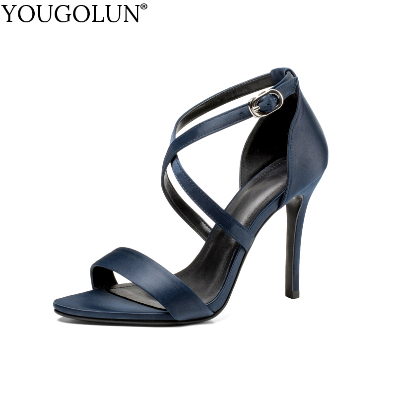 цена на YOUGOLUN Women Cross Strap Sandals Summer Satin Sexy Ladies High Thin Heels Woman Blue Cyan Apricot Open toe Party Shoes #A-124