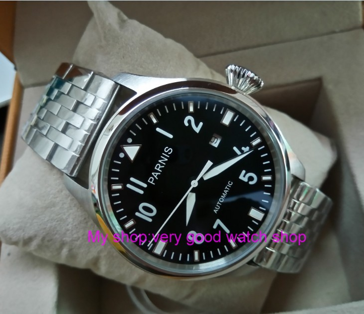 47mm big pilot PARNIS Black dial Automatic Self-Wind movement Auto Date men watches luminous Mechanical watches df71A
