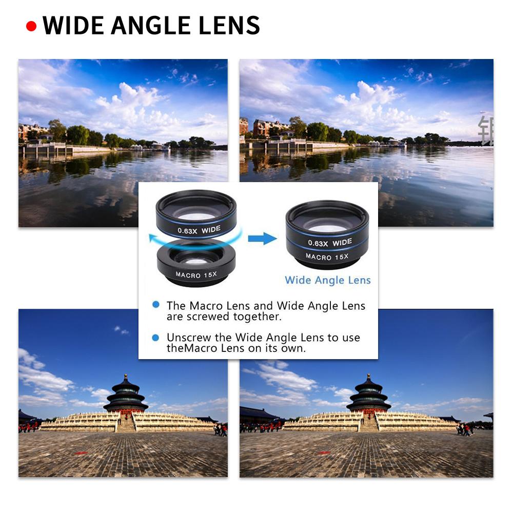 APEXEL 6IN1 phone camera lens 12X Telescope telephoto Zoom+fisheye wide angle macro Lens kit For iPhone7 6S plus Samsung s8 5