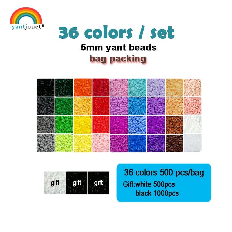Yantjouet 5mm Yant Beads 36color/set Black White for Kid Hama Perler Bead Diy Puzzles High Quality Handmade Gift children Toy