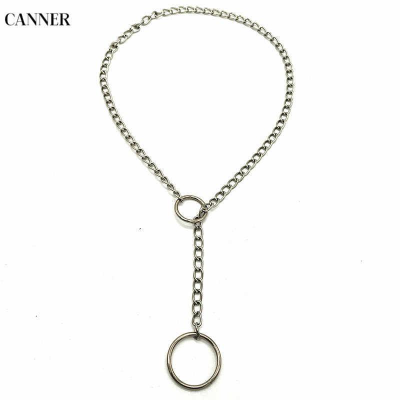 Canner ręcznie srebro choker łańcuszek naszyjnik Punk Gothic metalowy łańcuch naszyjnik dla kobiet mężczyzn dziewczyna 2019 fajne biżuteria collier W4