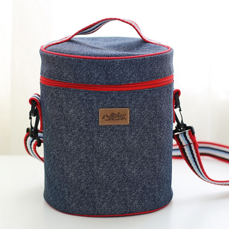 Oxford Cloth Thermal Lunch Bag Thermo Insulated Round <font><b>Cooler</b></font> Storage Tote Women Kid Picnic Food Bento Bag Portable Shoulder Bags
