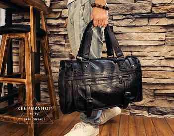 Fashion Retro Genuine Leather Male Shoulder Bag Large Capacity Luggage Bags Casual Portable Multifunction Travel Duffle Bag L497