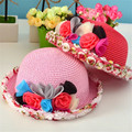 Baby Kids Girls Sun Hats Princess Bowknot Floral Straw Summer Children Beach Hat Kids Wide Brim Hat/Cap 2-8 Years Accessories