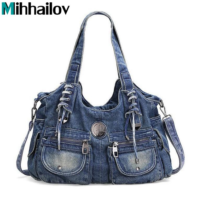 New Design Brand Elegant Rhinestone Fashion Women Shoulder Bag Jeans Casual Ladies Denim Handbags Female Tote Bag Mochila XS-124 aselnn 2017 women ripped jeans femme plus size vintage female 2017 ladies blue denim pants pencil casual brand fashion