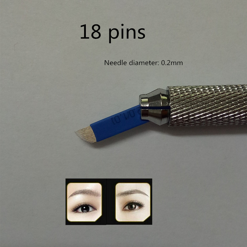 500 PCS blue 18 Pin Permanent Makeup Manual Eyebrow Tattoo Needles Blade For 3D Embroidery Microblading