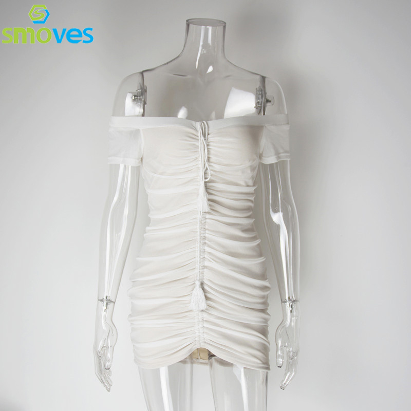 Smoves Sexy Fuera Del Hombro Acanalada Levante Con Cordón de Malla Transparente Vestido ajustado Atractivo Del Mini Vestido Del Club Nuevo 2017 Vestidos de Las Mujeres Vestidos