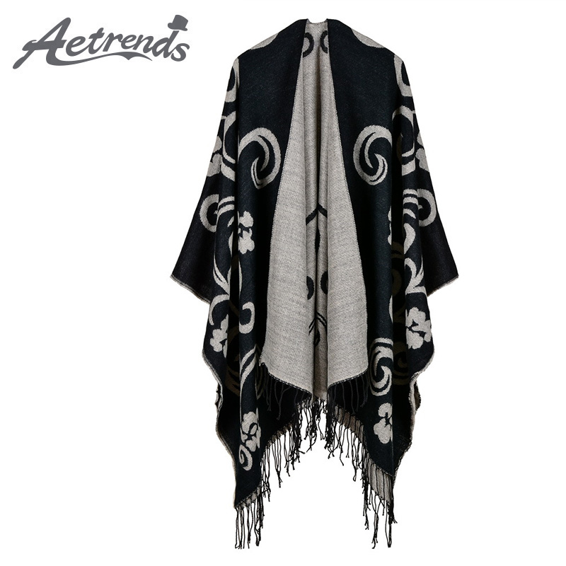 [AETRENDS] 2017 New Vintage Cape Cashmere Feel Ponchos Women Long Winter Poncho Scarf Pashmina Z-6166