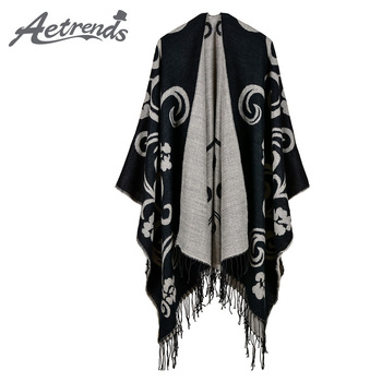 [AETRENDS] Vintage Cape Cashmere Feel Ponchos Women Long Winter Poncho Scarf Pashmina Z-6166 [aetrends] winter poncho vintage lace design women s cape shawl cashmere feel scarfs for ladies z 6547
