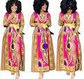 Womens Vintage Cotton Afican Long Sleeve O-Neck Totem Print Splited Long Dresses With Belt