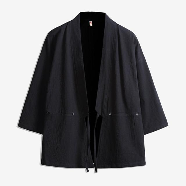 Men Japan Style Cotton Cardigan Shirt Jacket Male Streetwear Fashion Hip Hop Casual Coat Loose Kimono Jacket Size M-5XL