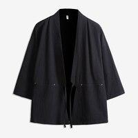 Men Japan Style Cotton Cardigan Shirt Jacket Male Streetwear Fashion Hip Hop Casual Coat Loose Kimono Jacket Size M 5XL