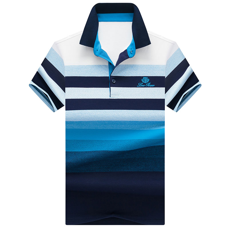 Men   Polo   Shirt Summer Men Business Casual Gradient color stripes Short Sleeve   Polo   Shirt jacquard embroidery Work Clothes   Polos