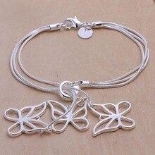 2016 Hot Silver Color Jewelry bracelet, silver plated jewelry Three Butterfly Pendant Bracelet bohemian bracelets for women