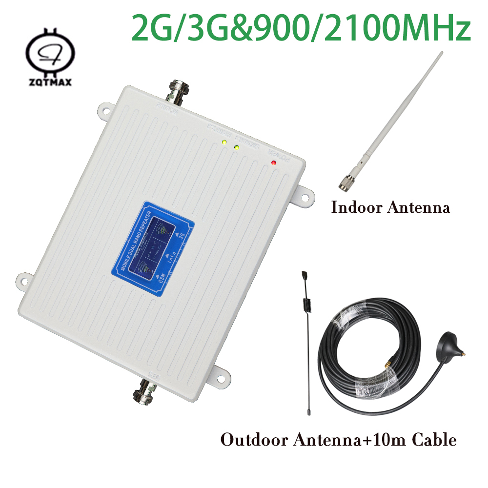 Smart Dual Band 900 2100 Repeater UMTS Gsm 2g 3g WCDMA 2100mhz 900mhz Cell Mobile Phone Signal Booster Amplifier With Antenna