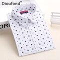 Dioufond Floral blusas de mujeres Polka Dot Blusa camisa manga larga mujeres Camisas de algodón Femininas Blusa femenina señoras Tops