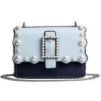2018 Women Bag Fashion Women Messenger Bags Rivet Chain Shoulder Bag High Quality PU Leather Crossbody Pearl Female bags 938