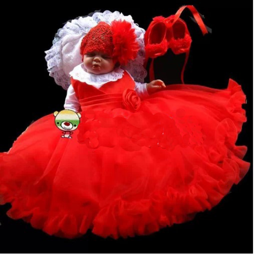 ФОТО new new high quality baby girl christening gown wedding dress newborn formal baptism dress infant set cap+ dress + coat +shose