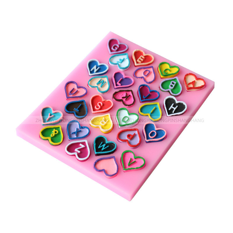 3D Heart-Shaped <font><b>Letter</b></font> Chocolate Mold Alphabet <font><b>Cake</b></font> Molds Fondant Silicone Mould DIY Baking <font><b>Decoration</b></font> <font><b>Tools</b></font> Kitchen Accessories image