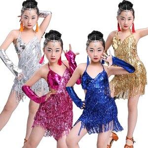 Image 2 - child kid children professional latin dance dress for girls ballroom dancing dresses for kids red sequin fringe salsa tassel