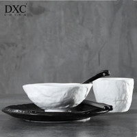 4 pcs Creative Black White Tableware ceramic Bowls Spoon cups 8 inches Art restaurant supplies High quality dishes and plate