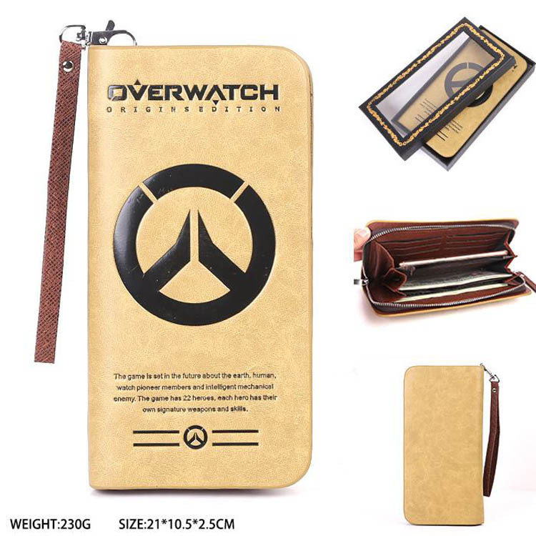 Overwatch Long Style Wallet Card Package OW men money bag zipper card bag leather pu purse lorways 016 stylish check pattern long style pu leather men s wallet blue coffee