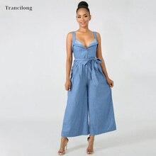 Trancilong Womens Sling Low Cut Long Sleeved Tight Fitting Blue Denim Jumpsuit Sexy Ruffled Wide Leg Fong Casual