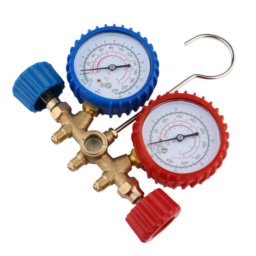 536G Car Auto A/C Refrigeration Air Conditioning AC Diagnostic Manifold Gauge Maintenence Tool With Hose And Hook Kit profession fixmee 2pcs car auto freon r134a h l quick coupler adapters air conditioning refrigerant adjustable a c manifold gauge set