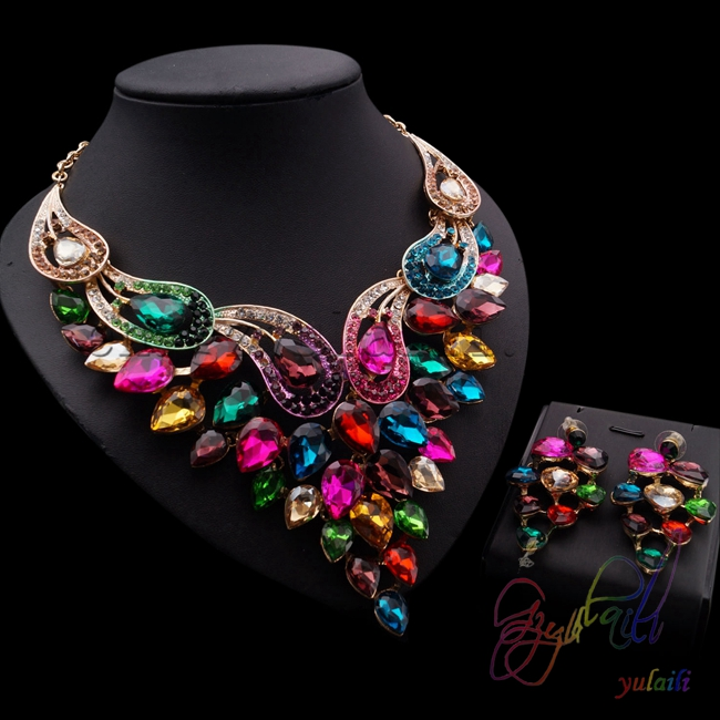 beautiful design Europe wedding jewelry sets colorful big pendant