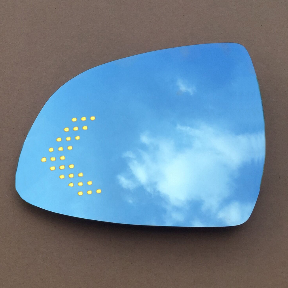 Multi curvature blue wide angle led turn signals heat demist door rear view rearview mirror for