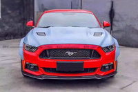 Car Accessories For 2015 Ford Mustang KT Style Carbon Fiber Front Lip Glossy Fibre Bumper Splitter Racing Spoiler Body Kit Trim