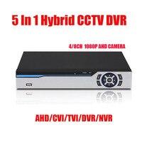 5 في 1 DVR 4Ch 8Ch 1080P AHD CVI TVI CVBS 16CH 1080P NVR الأمن CCTV DVR NVR HVR الهجين Onvif ماكس 6 تيرا بايت 1 * SATA واجهة