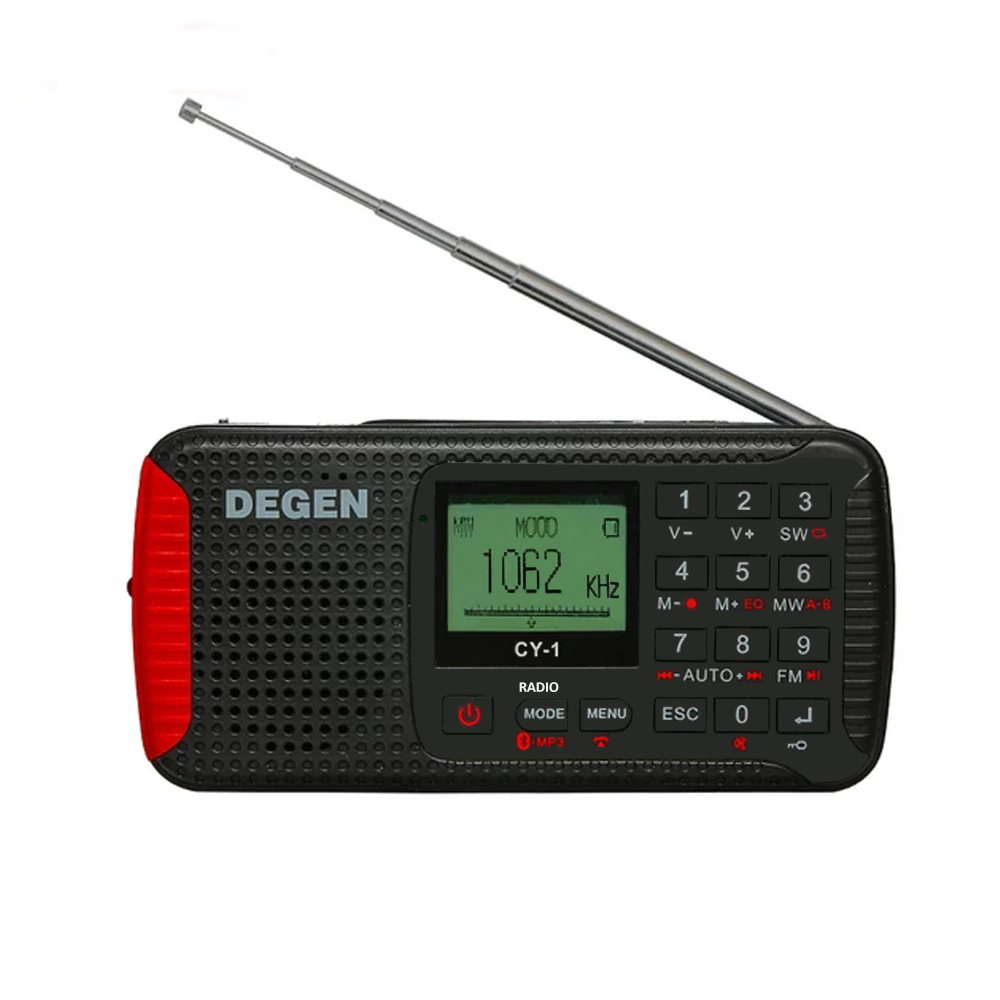 The Upgrade Version of DEGEN DE13 Solar CY-1 Dynamo Emergency FM /MW/ SW Alarm Clock Radio with LCD SOS Bluetooth MP3 Recorder 5pcs pocket radio 9k portable dsp fm mw sw receiver emergency radio digital alarm clock automatic search radio station y4408