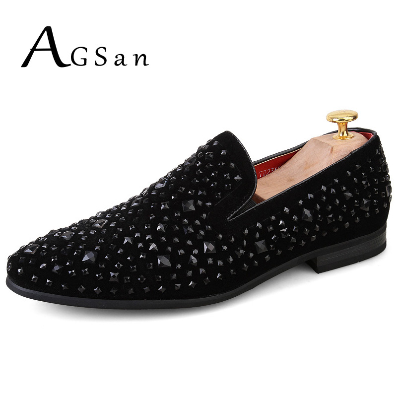 AGSan Luxury Black Spikes Diamonds Men's Leather Loafers Slip On Casual Dress Shoes Italian Designer Party Wedding Loafers agsan men genuine leather casual shoes slip on fashion flats handmade italian mens shoes black brown khaki luxury footwear 9 5