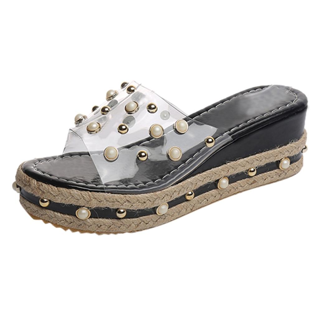 SAGACE Pearl Sandals Platform Wedge Ladies Shoes Fashion High-Quality Waterproof Outside