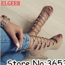 Amazing Sexy Suede Lace Up Women Summer Ankle Boots Party Lady Pumps Rome High Heels Dress Sandal Boots botas mujer Plus Size 43(China)
