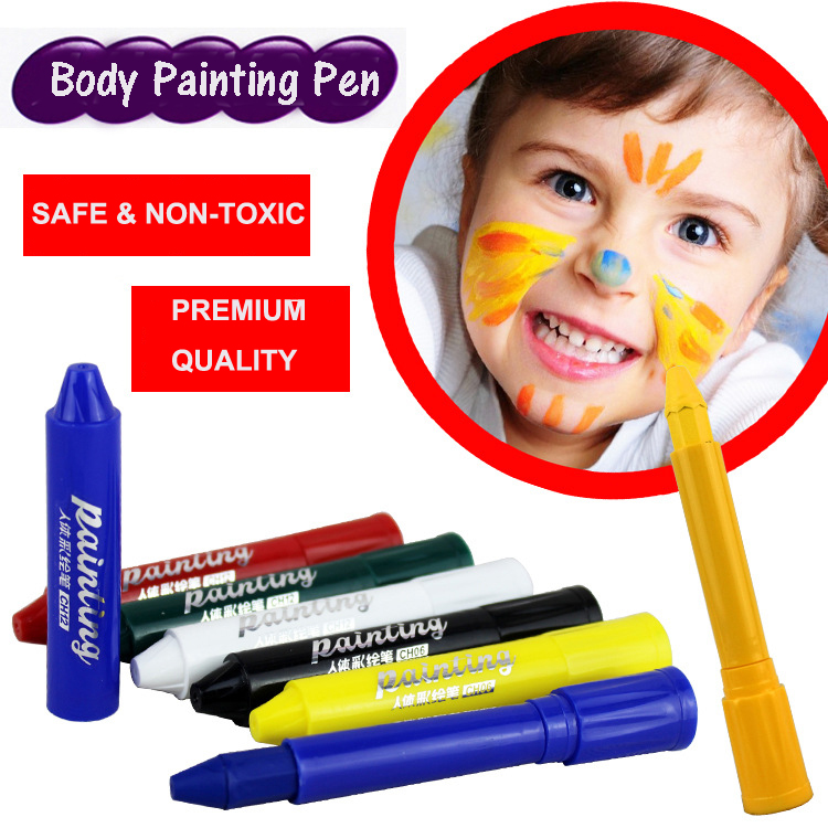 Face Art Paint Marker Pen Sticks Non-toxic Material Washable Paints for Face and Body Water-Based Color with Portable Pen Shape 3 color camouflage tactical face paint sticks 20ml