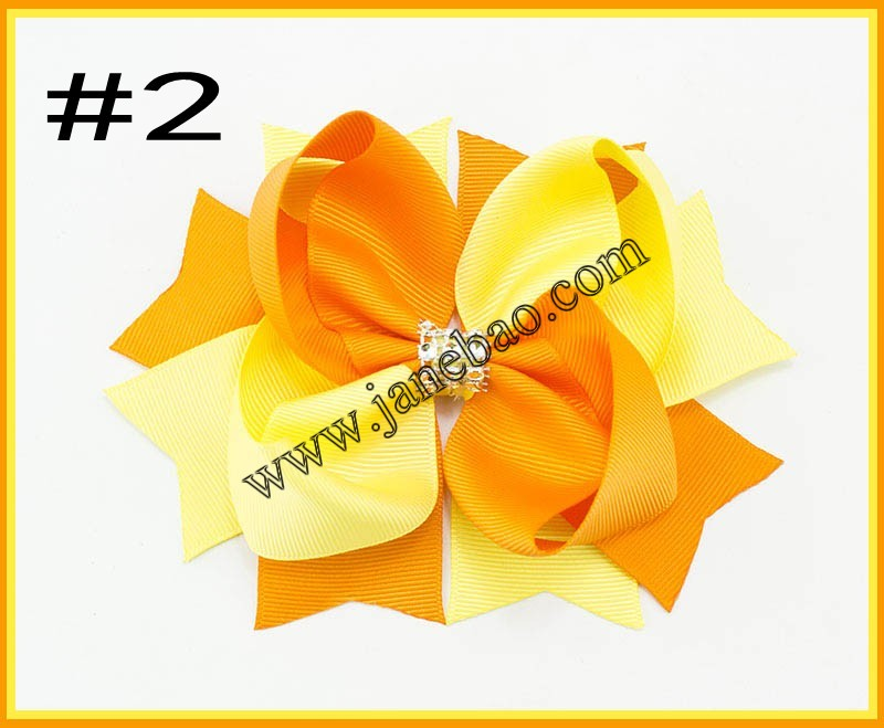 free shipping 30pcs 5 5 rhonestones two tone hair bows twist boutique hair clips girl hair