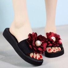 2018 New Summr Flats Shoes Big Flower Women Slides Beach Slippers Handmade Platforms Sandals