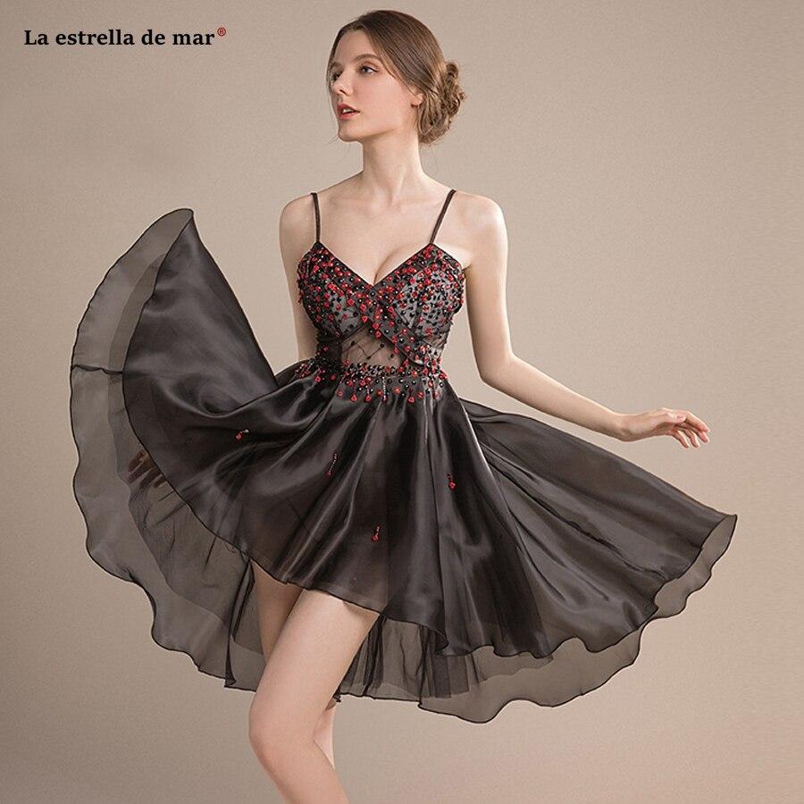 Vestido coctel 2019 nouveau sexy col en V cristal licou une ligne voir noir robes de cocktail courte robe grise cocktail chaud