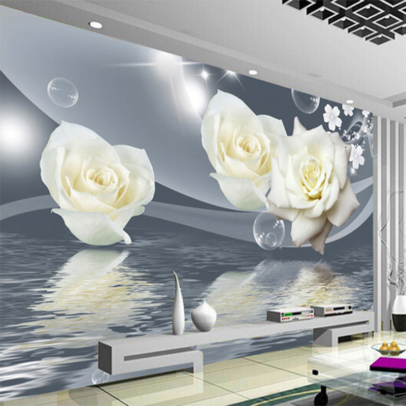 Fresh Elegant White Rose Flower Bubble Photo Wallpaper Living Room Background Wall 3D Mural Eco-Friendly Moisture-Proof Frescoes