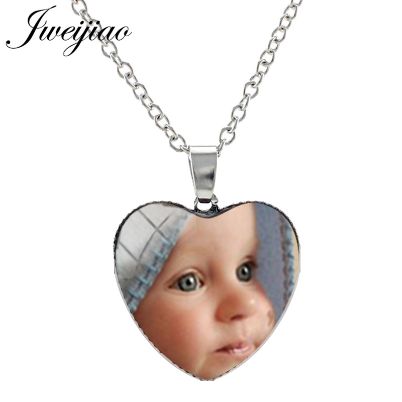 JWEIJIAO Custom Personalized Heart Shape Pendant Necklace Silver Color DIY 25mm Glass Cabochon Photo Friend Lovers Gift NA01(China)