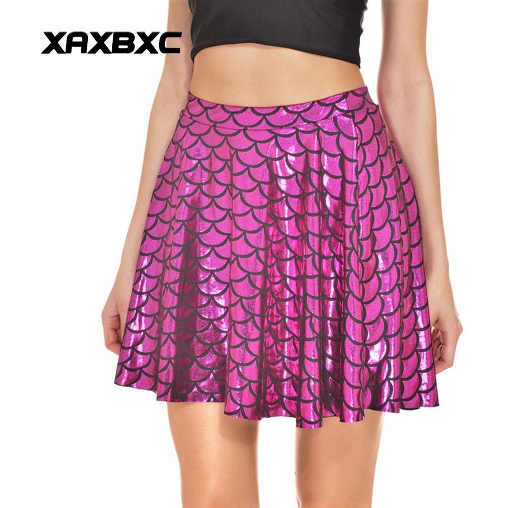 NEW 2010 Summer Sexy Girl Shiny Plum Rose Mermaid Scale Printed Cheering Squad Tutu Skater Women Mini Pleated Skirt Plus Size