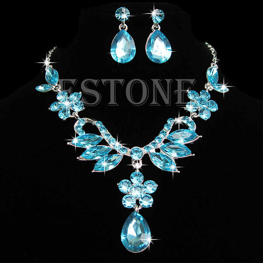 Bride Wedding Party Acrylic Drop Necklace Earring Pendant Chain Jewelry Set New