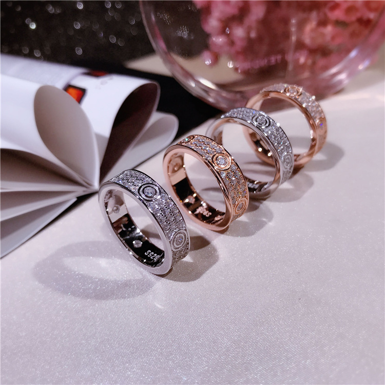Hot Classic Brand Pure 925 Sterling Silver Jewelry For Women Lovers' Wedding Ring Rose Gold Color Lock Rings Top Quality 678 # new pure au750 rose gold love ring lucky cute letter ring 1 13 1 23g hot sale