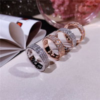 Hot Classic Brand Pure 925 Sterling Silver Jewelry For Women Lovers' Wedding Ring Rose Gold Color Lock Rings Top Quality 678 #