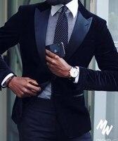2019 New Fashion Custom Made Groom's Wear Navy Blue Peak Lapel Velvet Tuxedos Wedding Suits For Men Plus Size Avaliable