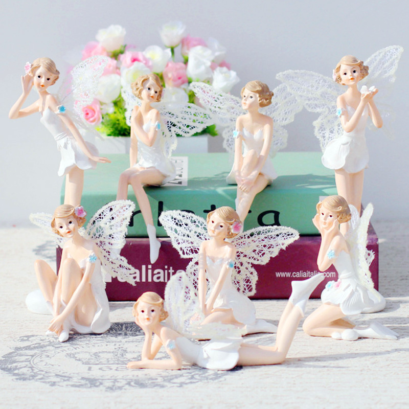 Flying Flower Fairy Garden DIY Miniature White Angel Flower Ornaments Home Decoration Cartoon Gifts Home Car Cake Decor 1