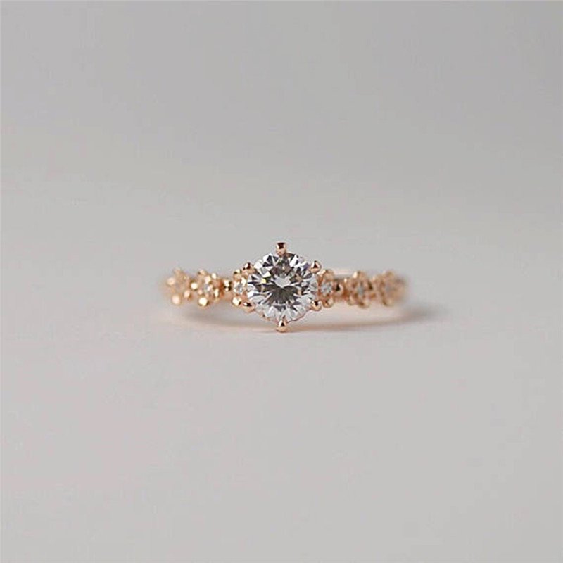 BOAKO Simple Cubic Zirconia Stone Thin Ring Rose Gold Engagement Rings For Women Boho Fashion Jewelry Wedding Ladies Gifts X7-M2