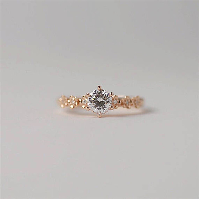BOAKO Simple Cubic Zirconia Stone Thin Ring Rose Gold Engagement Rings For Women